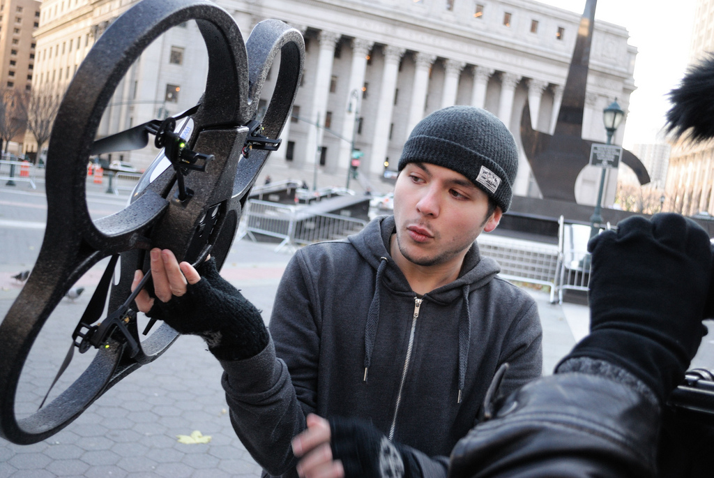 Occupy organiser Tim Pool with his 'occucopter', New York, 2012 Source: Flickr/ stanleyrogouski