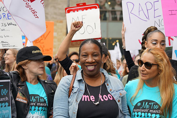 #metoo founder Tarana Burke leaves survivor march in Los Angeles. Photo credit: https://lasentinel.net