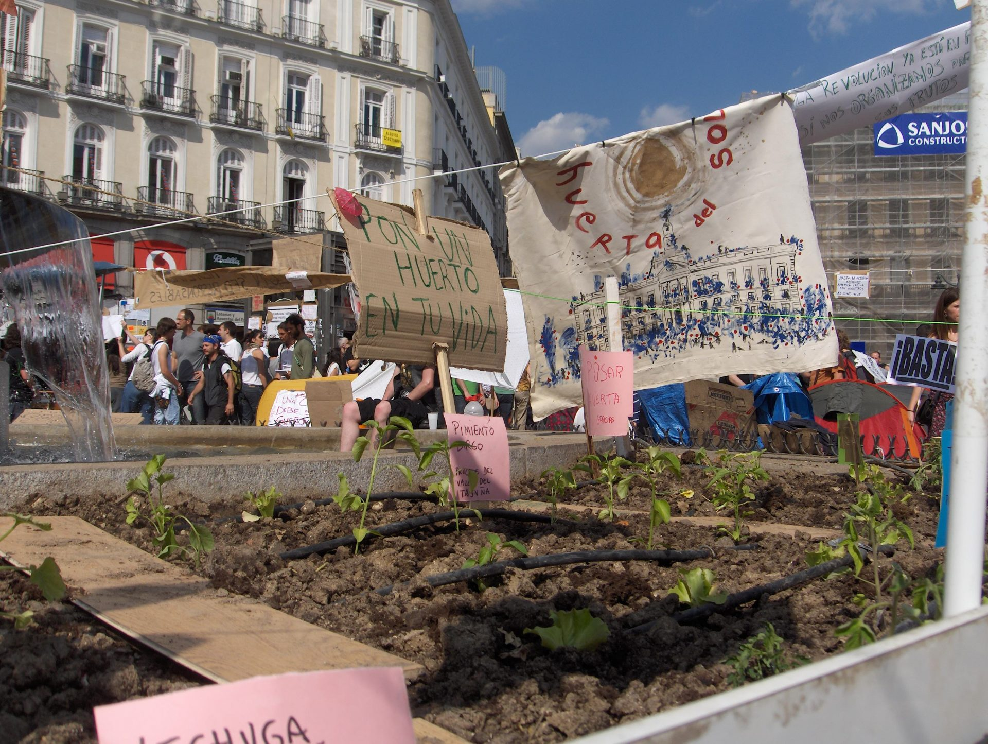 Huerto comunitario en la Puerta del Sol durante las manifestaciones del 15M en Madrid. Fotografía: Jose Luis Fernández Casadevante, Kois.