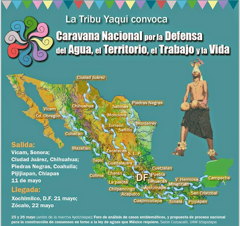 Poster for the national Caravan tour caravan tour in defense of water, territory, work and life