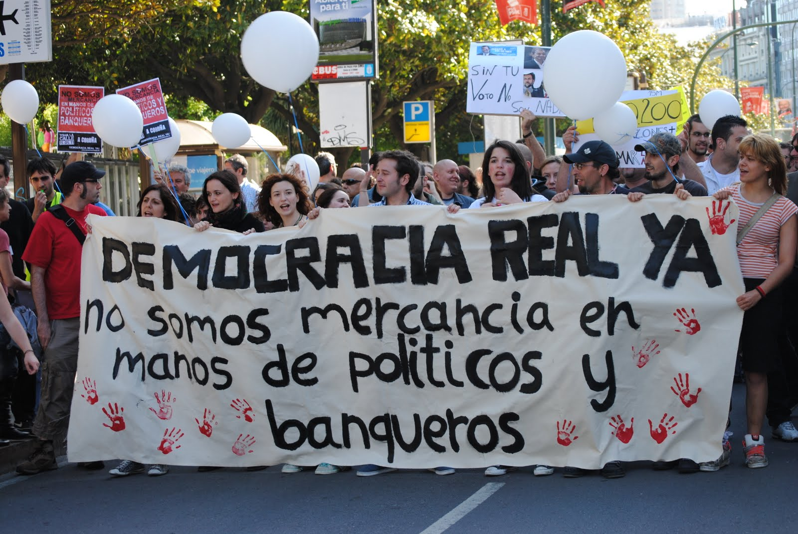 Indignado demonstration: Real Democracy Now - We are not for sale by politicians and bankers