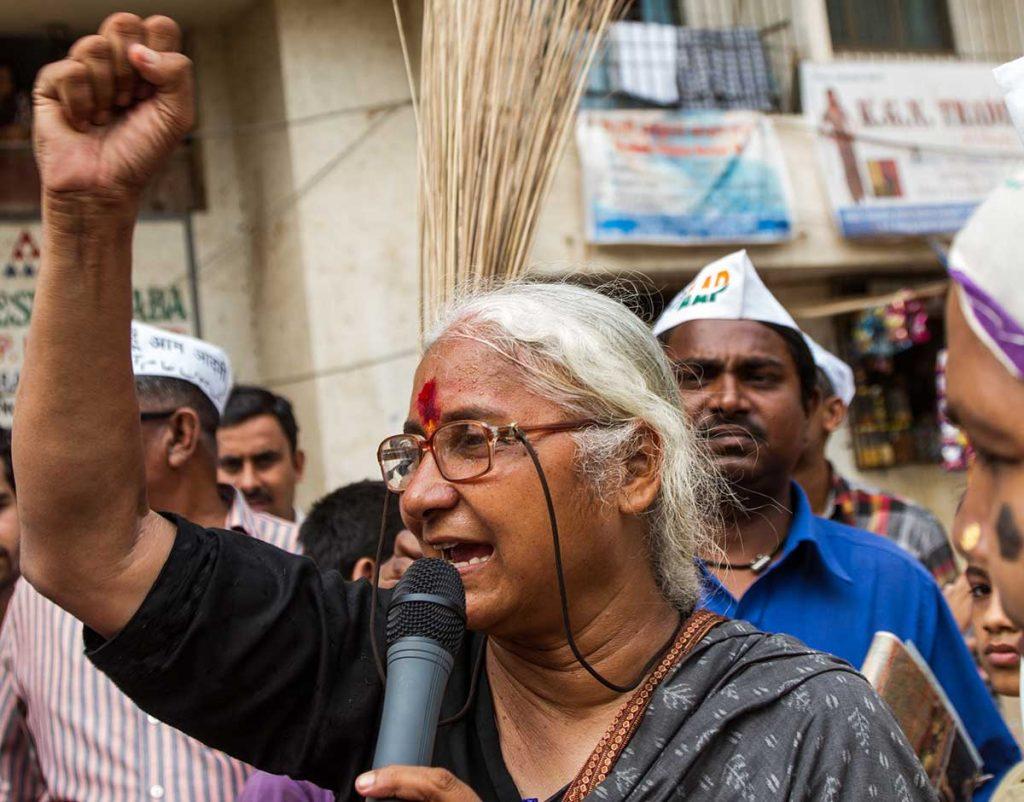 Medha Patkar campaigning in Mumbai