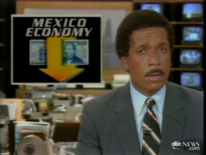 ABC News reports on the Mexican government's devaluation of the peso, 16 August 1982 that marked the beginning of a major international debt crisis for many developing countries.