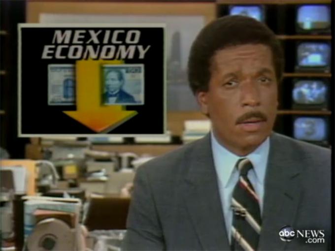 ABC News informa sobre la devaluación del peso por parte del gobierno mexicano, el 16 de agosto de 1982, que marcó el inicio de una importante crisis de la deuda internacional para muchos países en desarrollo.