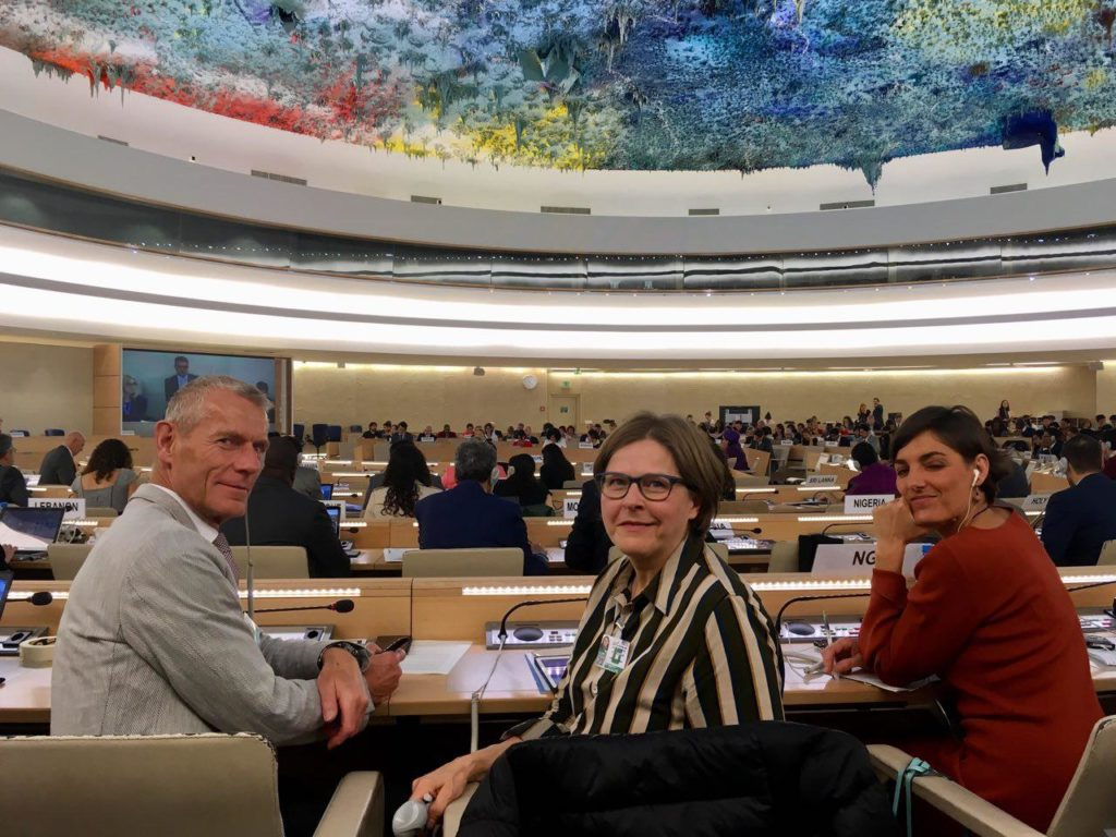 Members of the European Parliament Helmut Scholz (GUE), Heidi Hautala (Greens) and Lola Sánchez (GUE) at UN Headquarters during the 4th round of negotiations